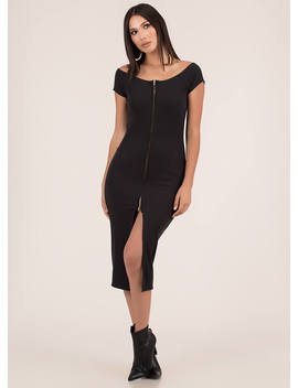 Two Way Street Slit Zip Front Dress by Go Jane