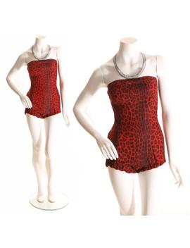 1950s Red Leopard Print Custom Made Strapless Swimsuit Playsuit   Xs by Etsy