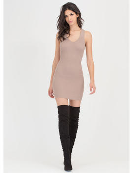 Tie Game Ribbed Lace Back Dress by Go Jane