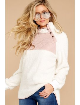 Talk Cozy To Me Ivory And Pink Pullover by Main Strip Apparel