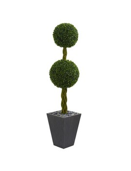 5ft Double Ball Boxwood Topiary Artificial Tree In Slate Planter   Nearly Natural by Nearly Natural