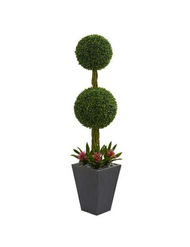 5ft Double Boxwood Ball Topiary Artificial Tree In Slate Planter   Nearly Natural by Nearly Natural