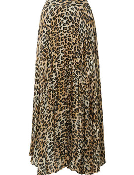Katz Pleated Metallic Leopard Print Silk Blend Gauze Maxi Skirt by Alice + Olivia