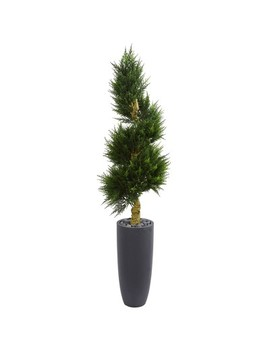 6ft Spiral Cypress Artificial Tree In Cylinder Planter   Nearly Natural by Nearly Natural