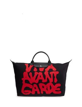 X Jeremy Scott Viva Avant Garde Canvas Travel Bag by Longchamp