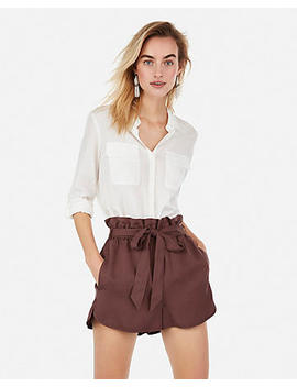 High Waisted Sash Tie Utility Shorts by Express