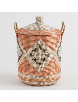 Diamond Seagrass Madison Tote Basket With Lid by World Market