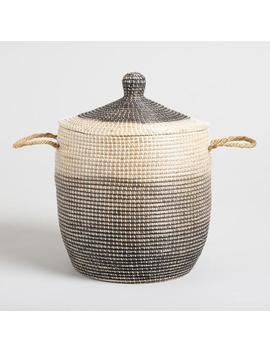 Ombre Seagrass Amelia Tote Basket With Lid by World Market