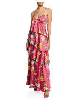 Tiered Floral Print Ruffle Open Back Maxi Dress by Aidan By Aidan Mattox