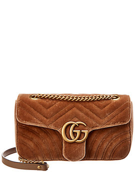 Gucci Gg Marmont Small Matelasse Velvet Crossbody by Gucci