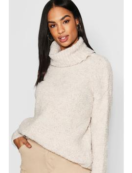 Tall Bobble Knit Oversized Roll Neck Jumper by Boohoo