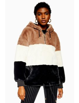 Colour Block Faux Fur Hoodie by Topshop