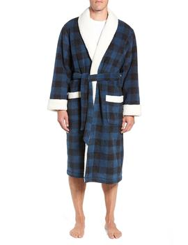 Plaid Fleece Robe With Faux Shearling Lining by Nordstrom Men's Shop