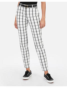 Mid Rise Ankle Windowpane Print Columnist Pant by Express