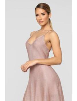 Shimmering Splendid Skater Dress   Rose Gold by Fashion Nova