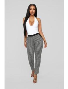 Print For The Will Ponte Pants   Black/White by Fashion Nova