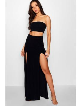 Double Split Slinky Maxi Skirt by Boohoo
