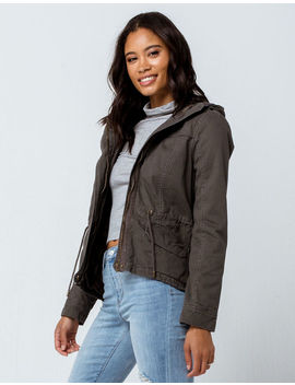 Sky And Sparrow Quilted Gray Womens Anorak Jacket by Sky And Sparrow