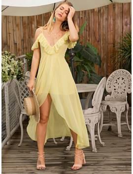 Ruffle Trim Split Cami Dress by Sheinside
