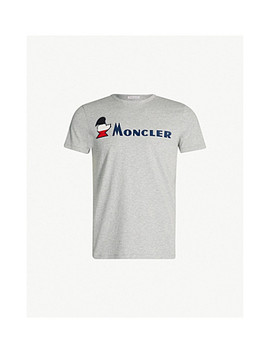 Logo Embossed Crewneck Cotton Jersey T Shirt by Moncler
