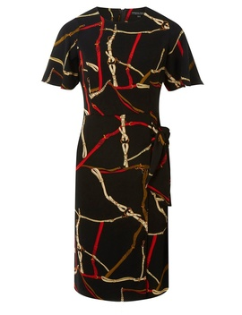 Black Chain Print Tie Side Pencil Dress by Dorothy Perkins