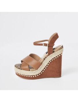 Light Brown Studded Wide Fit Wedges by River Island