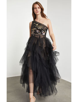 Embroidered One Shoulder Gown by Bcbgmaxazria