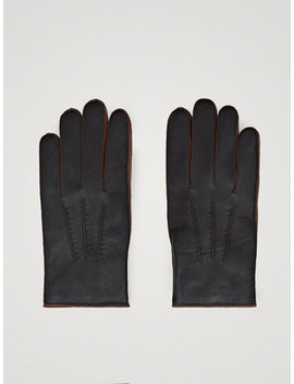 Two Tone Nappa Leather Gloves by Massimo Dutti