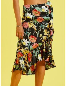 Botanical Print Ruffle Dip Hem Skirt by Shein