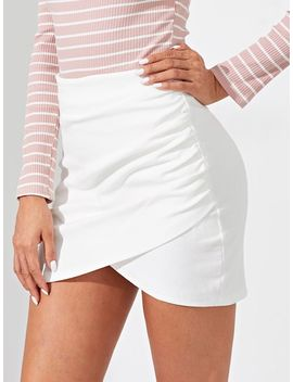 Wrap Split Front Solid Skirt by Shein