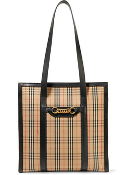 Embellished Leather Trimmed Checked Cotton Drill Tote by Burberry