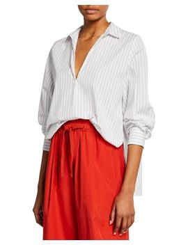 Bar Stripe V Neck Long Sleeve Swing Front Blouse by Vince