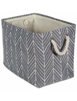 "Dii Collapsible Polyester Storage Basket Or Bin With Durable Cotton Handles, Home Organizer Solution For Office, Bedroom, Closet, Toys, & Laundry (Small  14x8x9""), Gray Herringbone by Dii"