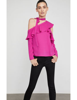 Cold Shoulder Asymmetrical Ruffle Blouse by Bcbgmaxazria