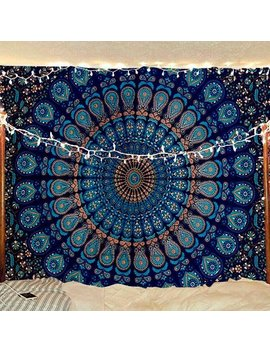 Bless International Indian Hippie Bohemian Psychedelic Peacock Mandala Wall Hanging Bedding Tapestry (Blue Green, Queen(84x90 Inches)(215x230 Cms)) by Bless International