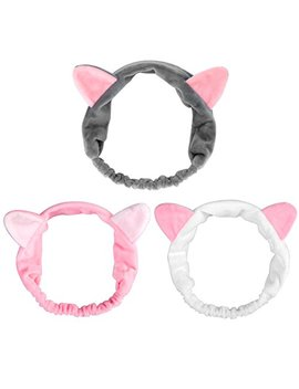 3 Pack Dreamlover Elastic Velvet Cat Ear Headband, Adorable And Comfortable Cat Ear Hair Band, Makeup Cosmetic Facial Cleansing Beauty Headband For Girls And Women by Dreamlover