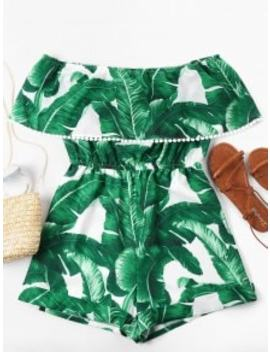 Off Shoulder Tropical Leaf Romper   Green L by Zaful