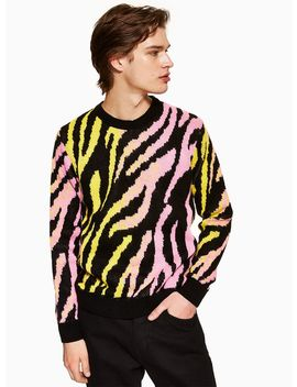 Neon Fluffy Tiger Print Jumper by Topman