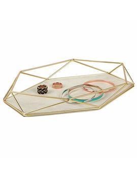 Umbra Prisma Jewelry Tray And Trinket Dish, Geometric Decor And Organizer, Matte Brass by Amazon