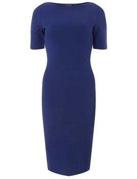 Cobalt Blue Slash Neck Textured Bodycon Dress by Dorothy Perkins