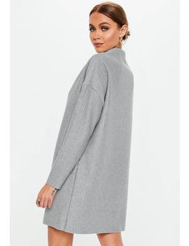 Petite Grey Oversized Ribbed Sweater Dress by Missguided