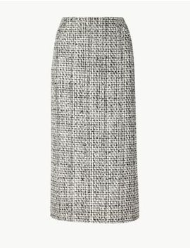 Cotton Blend Checked Pencil Skirt by Marks & Spencer