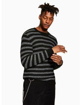 Black Stripe Metallic Thread Knitted Jumper by Topman