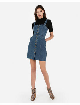 Button Front Seamed Denim Mini Sheath Dress by Express