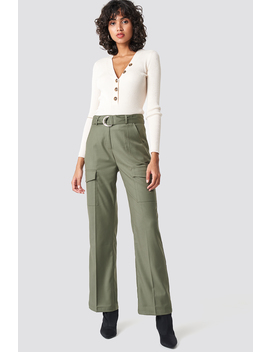 Patch Pocket Belted Pants by Na Kd Trend