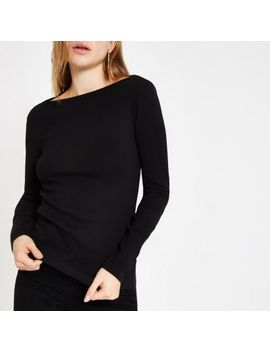 Black Ribbed Boat Neck Long Sleeve Top by River Island