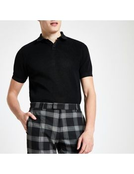 Black Slim Fit Textured Polo Shirt by River Island