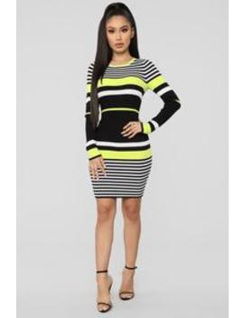 Struttin' Side To Side Sweater Dress   Black/Green by Fashion Nova