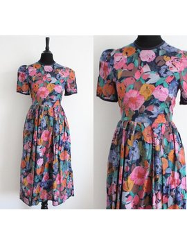 Vintage 1980s Tea Dress, 80s Vibrant Floral Boho Romantic Casual Day Dress, Petite Tea Dress, Uk Xs 4 6 by Etsy
