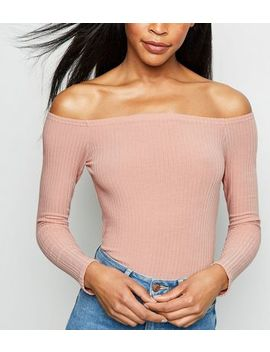 Pale Pink Ribbed Bardot Bodysuit by New Look